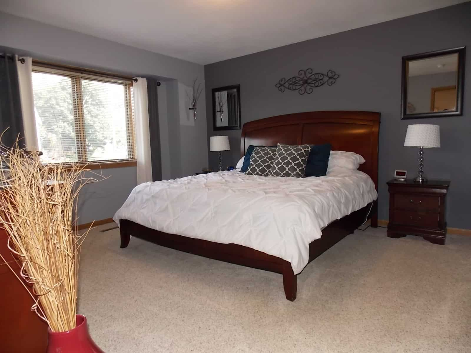master bedroom in Milton home
